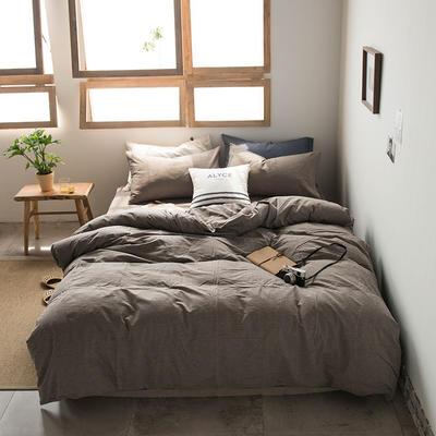 2019新款水洗棉四件套床单款床笠款 1.2m床床笠款 深灰