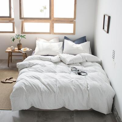 2019新款水洗棉四件套床单款床笠款 1.2m床床笠款 小白格
