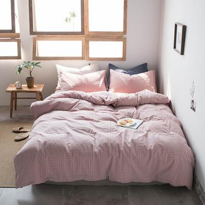 2019新款水洗棉四件套床单款床笠款 1.2m床床笠款 小粉格