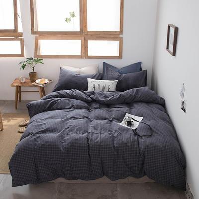 2019新款水洗棉四件套床单款床笠款 1.2m床床笠款 小灰格