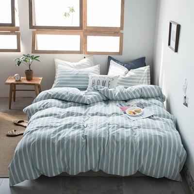 2019新款水洗棉四件套床单款床笠款 1.2m床床笠款 雅兰宽条