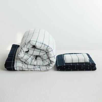 全棉色织水洗棉夏被四件套 1.2米床用(床笠款夏被三件套) 白色白底蓝格