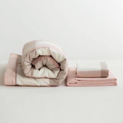 全棉色织水洗棉夏被四件套 1.2米床用(床笠款夏被三件套) 粉红色粉大格