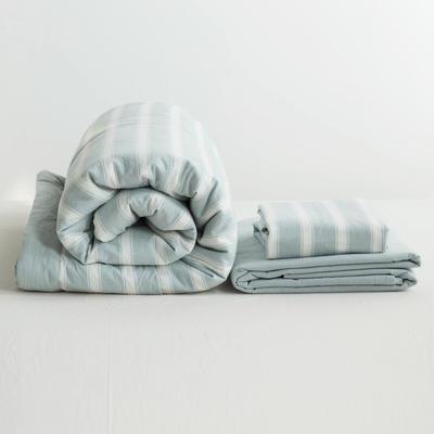 全棉色织水洗棉夏被四件套 1.2米床用(床笠款夏被三件套) 湖蓝色雅兰宽条