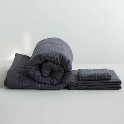 全棉色织水洗棉夏被四件套 1.2米床用(床笠款夏被三件套) 灰色灰大格