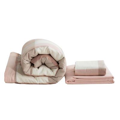 全棉色织水洗棉夏被四件套 1.2米床用(床笠款夏被三件套) 咖啡色摩卡小格