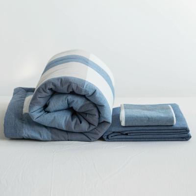 全棉色织水洗棉夏被四件套 1.2米床用(床笠款夏被三件套) 蓝色蓝大格
