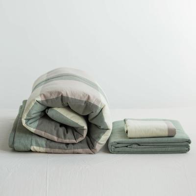 全棉色织水洗棉夏被四件套 1.2米床用(床笠款夏被三件套) 绿色绿大格