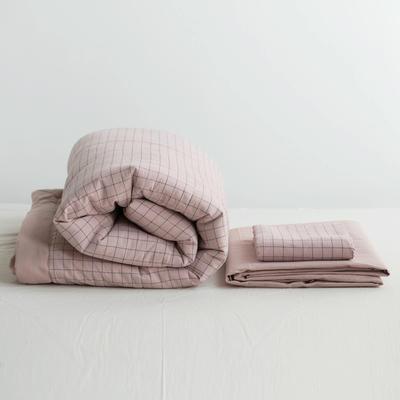 全棉色织水洗棉夏被四件套 1.2米床用(床笠款夏被三件套) 藕色粉大格