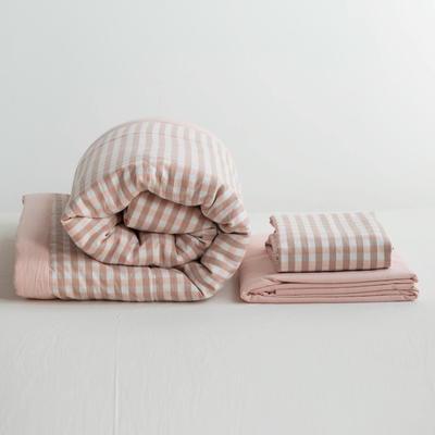 全棉色织水洗棉夏被四件套 1.2米床用(床笠款夏被三件套) 浅粉红色蜜粉小格