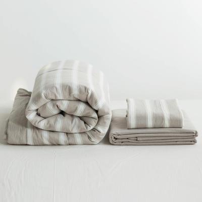全棉色织水洗棉夏被四件套 1.2米床用(床笠款夏被三件套) 深卡其布色卡其宽条
