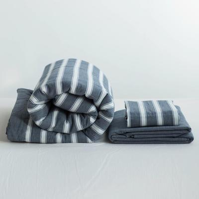 全棉色织水洗棉夏被四件套 1.2米床用(床笠款夏被三件套) 深蓝色青蓝宽条