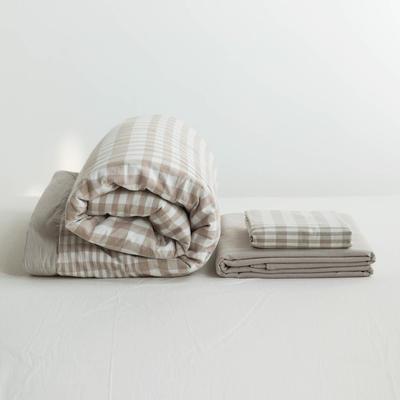 全棉色织水洗棉夏被四件套 1.2米床用(床笠款夏被三件套) 驼色米色浅变格