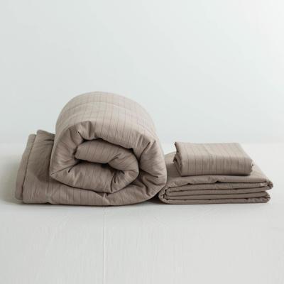 全棉色织水洗棉夏被四件套 1.2米床用(床笠款夏被三件套) 新咖啡色摩卡细条