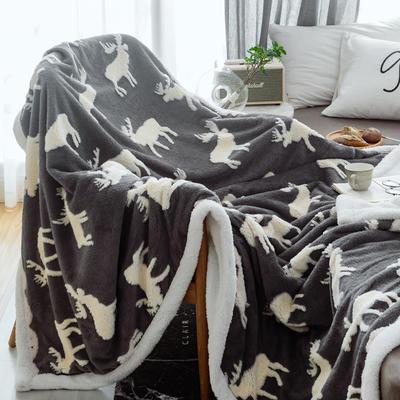2020新款双层绒盖毯小毛毯 A版舒棉绒 B版法莱绒 150*220cm 小鹿