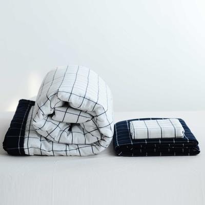 2020新款全棉色织水洗棉夏被四件套 150×200cm单件夏被 白底蓝格