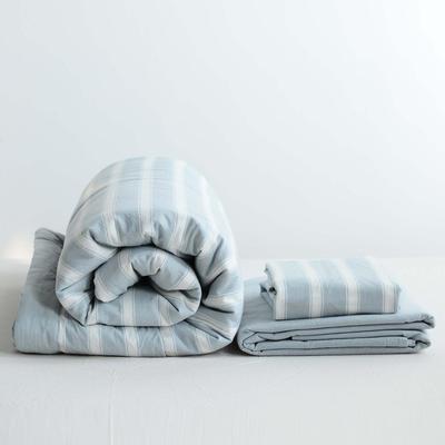 2020新款全棉色织水洗棉夏被四件套 150×200cm单件夏被 雅兰宽条