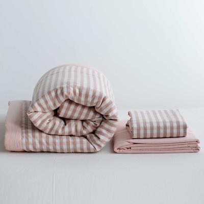 2020新款全棉色织水洗棉夏被四件套 120×150cm单件夏被(儿童款) 蜜粉小格