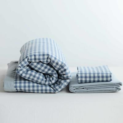 2020新款全棉色织水洗棉夏被四件套 150×200cm单件夏被 浅蓝小格