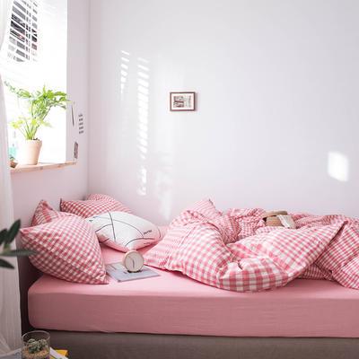 2020新款水洗棉四件套床单床笠款 1.2m床床单款 粉色渐变格
