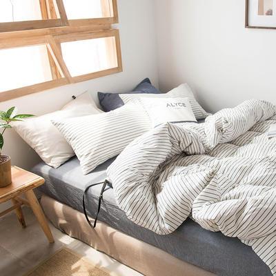 2020新款水洗棉四件套床单床笠款 1.2m床床单款 黑白细条