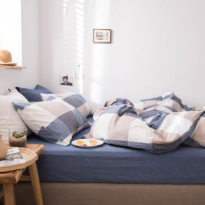 2020新款水洗棉四件套床单床笠款 1.2m床床单款 蓝大格