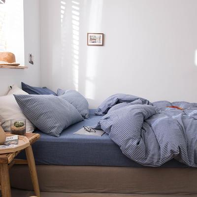 2020新款水洗棉四件套床单床笠款 1.5m床床单款 蓝细条
