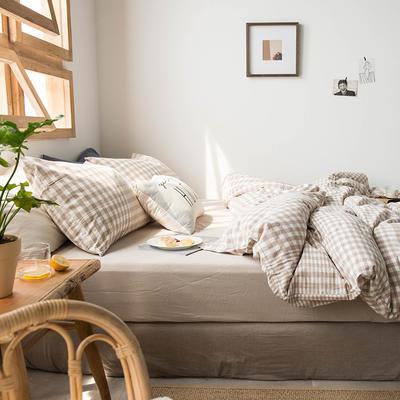 2020新款水洗棉四件套床单床笠款 1.2m床床单款 米色渐变格