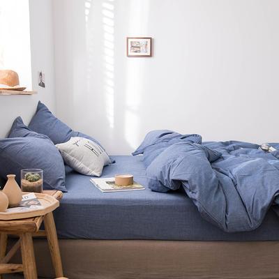 2020新款水洗棉四件套床单床笠款 1.5m床床单款 牛仔蓝