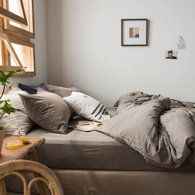 2020新款水洗棉四件套床单床笠款 1.5m床床单款 深灰