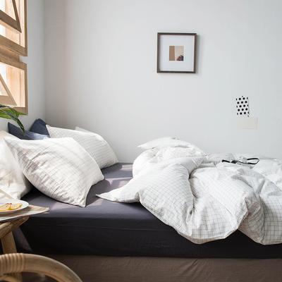 2020新款水洗棉四件套床单床笠款 1.5m床床单款 小白格