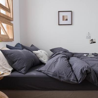 2020新款水洗棉四件套床单床笠款 1.5m床床单款 小灰格