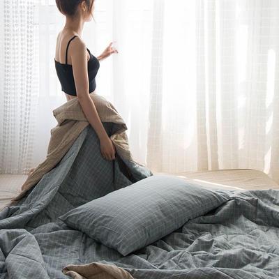 2020新款无印色织水洗棉全棉夏被 200X230cm 单夏被 九宫格-蓝