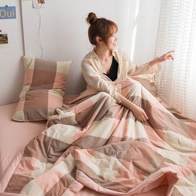 2020新款无印色织水洗棉全棉夏被 150x200cm 单夏被 粉大格