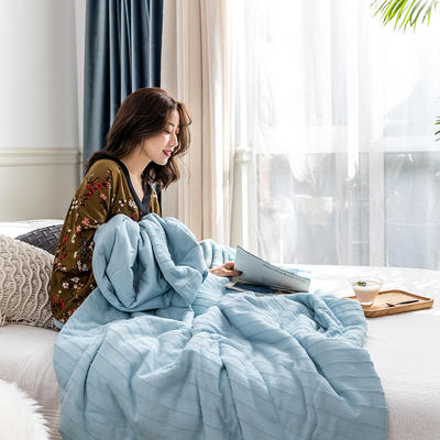 2019新款全棉针织夏被 200X230cm 莫妮卡-水蓝