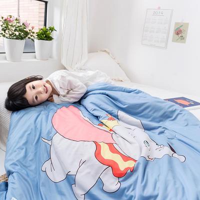 2019新款全棉牛奶棉针织棉小飞象儿童儿童夏被 110X150cm 蓝色