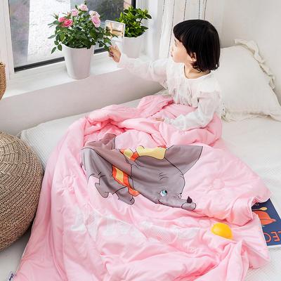 2019新款全棉牛奶棉针织棉小飞象儿童儿童夏被 110X150cm 粉色