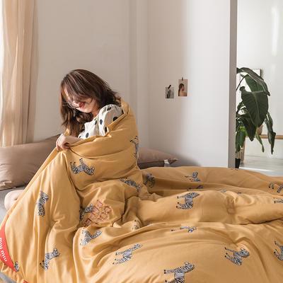 2019新款MIUMIU系列牛奶绒双面多功能冬被 200X230cm 6.5斤 斑马黄