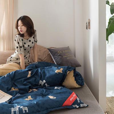 2019新款MIUMIU系列牛奶绒双面多功能冬被 200X230cm 6.5斤 动物园蓝