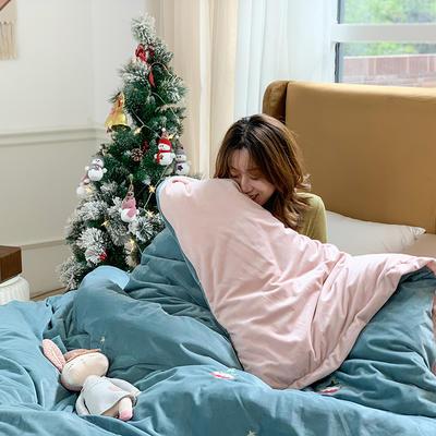 2019新款牛奶絨刺繡活套冬被 200X230cm 10斤 圣誕樹淡藍