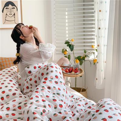 2020新款韩系全棉春秋被 200X230cm 草莓-白
