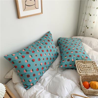 2020新款40支斜纹全棉枕套 48cmX74cm一对 草莓绿