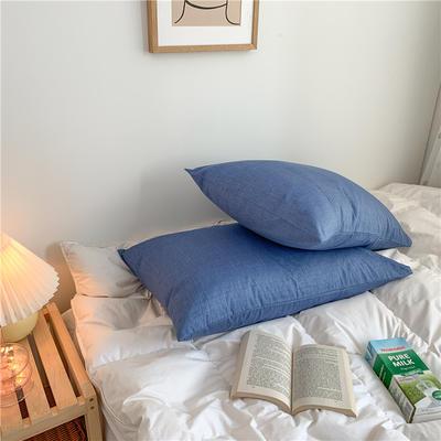 2020新款40支斜纹全棉枕套 48cmX74cm一对 蔚蓝
