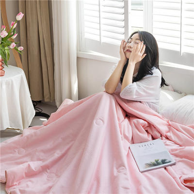 2020新款贡缎提花大豆夏被 200X230cm 粉色