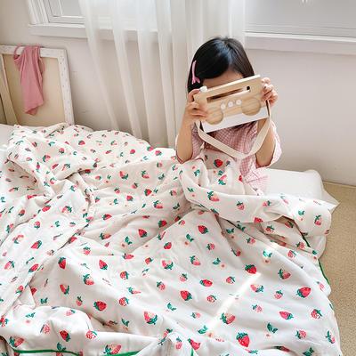 2020新款儿童全棉双层纱布棉花驱蚊夏被 110x150cm 白草莓