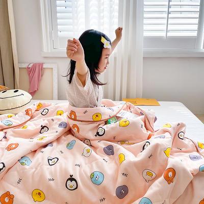 2020新款儿童全棉双层纱布棉花驱蚊夏被 110x150cm 布朗熊