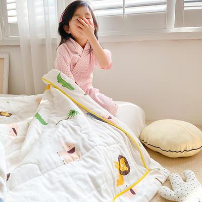 2020新款儿童全棉双层纱布棉花驱蚊夏被 110x150cm 动物园