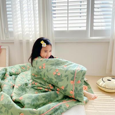 2020新款儿童全棉双层纱布棉花驱蚊夏被 110x150cm 绿草莓