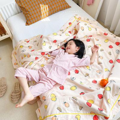 2020新款儿童全棉双层纱布棉花驱蚊夏被 150x200cm 水果园