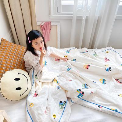 2020新款儿童全棉双层纱布棉花驱蚊夏被 110x150cm 小汽车